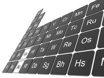 Periodic table of the elements. 3D elements of the Mendeleev periodic table in perspective Royalty Free Stock Photo