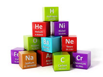 Periodic table elements. 3D illustration. Periodic table elements isolated on white background. 3D illustration Royalty Free Stock Image