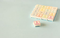 Periodic table of elements. Selective focus. science education concept Stock Image