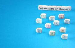 Periodic table of elements. Selective focus. science education concept Royalty Free Stock Photos
