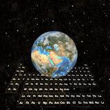 PeriodicTable-Earth, Eastern Hemisphere Stock Images