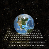 PeriodicTable - Earth in Space-Western Hemisphere Stock Image