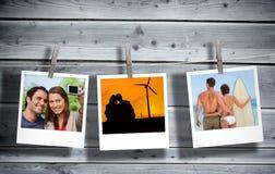 Periodieke onmiddellijke die foto's van vakantiescènes met een pin in lijn worden gehangen Royalty-vrije Stock Afbeeldingen