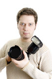 Periodista fotográfico Foto de archivo libre de regalías