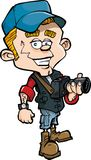 Periodista fotográfico de la historieta con una cámara Imágenes de archivo libres de regalías