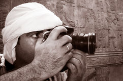 Periodista fotográfico en el trabajo Fotos de archivo libres de regalías