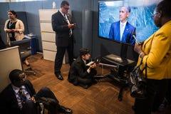 Periodistas en los pasillos de la O.N.U Imagenes de archivo