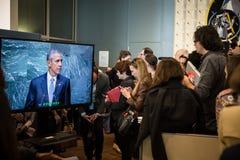 Periodistas en los pasillos de la O.N.U Fotografía de archivo