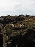 Periodo bianco delle coperture Aloha su Lava Rock in Hawai Fotografie Stock Libere da Diritti