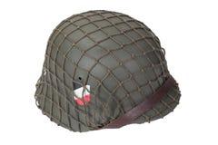 Periodo della seconda guerra mondiale del casco dell'esercito tedesco isolato su un fondo bianco Fotografia Stock Libera da Diritti