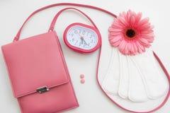 Periodtid, menstruationkontroll, kvinnahälsa royaltyfri bild