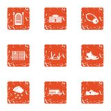 Peripheral city icons set, grunge style. Peripheral city icons set. Grunge set of 9 peripheral city vector icons for web isolated on white background Royalty Free Stock Images