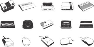 Peripheral Devices. An illustrated set of various peripheral devices of a computer Stock Image