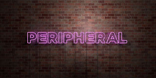 PERIPHERAL - fluorescent Neon tube Sign on brickwork - Front view - 3D rendered royalty free stock picture. Can be used for online banner ads and direct Stock Photo