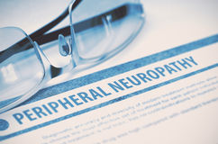 Peripheral Neuropathy. Medicine. 3D Illustration. Peripheral Neuropathy - Medicine Concept with Blurred Text and Glasses on Blue Background. Selective Focus. 3D Royalty Free Stock Image