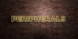 PERIPHERALS - fluorescent Neon tube Sign on brickwork - Front view - 3D rendered royalty free stock picture Stock Images