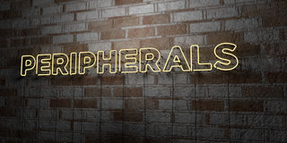 PERIPHERALS - Glowing Neon Sign on stonework wall - 3D rendered royalty free stock illustration Royalty Free Stock Photo