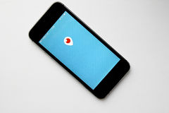 Periscope mobile app logo in screen. MOSCOW,RUSSIA - FEBRUARY 19 ,2016 : Periscope mobile app logo in screen on a Apple iPhone 5s. Periscope is made by Twitter Royalty Free Stock Image