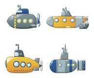 Periscope telescope icons set, cartoon style. Periscope submarine telescope icons set. Cartoon illustration of 4 periscope submarine telescope vector icons for vector illustration