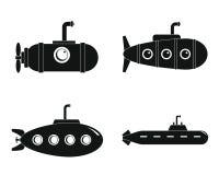 Periscope telescope icons set, simple style. Periscope submarine telescope icons set. Simple illustration of 4 periscope submarine telescope icons for web royalty free illustration
