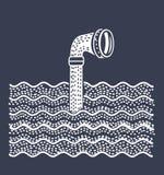 Periscopio del metal sobre el agua ilustración del vector
