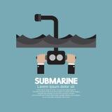 Periscopio del submarino debajo del océano Imagen de archivo libre de regalías