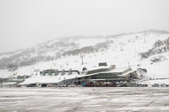 Perisher Valley ski resort lifts and car park. Perisher Valley - 23 June 2016: Winter has arrived at Perisher Valley Royalty Free Stock Photos