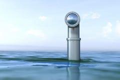 Periskop ovanför vattnet Arkivfoto