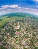 Perisoru symmetrical village in Calarasi County, Romania Stock Image