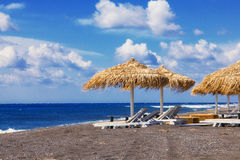 Perissa海滩(黑海滩),圣托里尼 库存照片