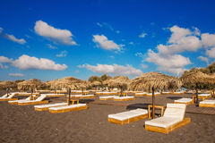 Perissa beach (Black Beach) on Santorini island Royalty Free Stock Images