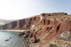 Perissa beach (Black Beach) on Santorini island, Greece stock photos