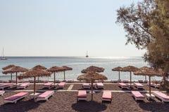 Perissa beach - Santorini Cyclades island - Aegean sea - Greece. View of Perissa beach - Santorini Cyclades island - Aegean sea - Greece stock images