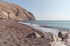 Perissa beach - Santorini Cyclades island - Aegean sea - Greece. View of Perissa beach - Santorini Cyclades island - Aegean sea - Greece royalty free stock photos