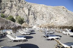 Perissa Beach on Santorini island royalty free stock photo