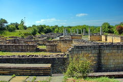 Peristyl komplex Abritus in present town Razgrad. Bulgaria. Wall and columns of the ancient Roman town Abritus Stock Images