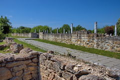 Peristyl komplex Abritus in present town Razgrad. Bulgaria. Wall and columns of the ancient Roman town Abritus Royalty Free Stock Photography