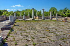 Peristyl komplex Abritus in present town Razgrad. Bulgaria. Wall and columns of the ancient Roman town Abritus Royalty Free Stock Photos