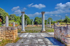 Peristyl komplex Abritus in present town Razgrad. Bulgaria. Wall and columns of the ancient Roman town Abritus Stock Photography