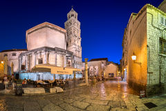 The Peristyle of Diocletian`s Palace in the Evening, Split, Dalm Stock Photos