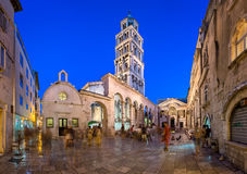 The Peristyle of Diocletian`s Palace in the Evening, Split, Dalm Stock Photo