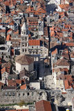 Peristyle and St Domnius cathedral in Split, aerial view Royalty Free Stock Photography