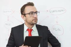 Perito do negócio que guarda o dispositivo digital da tabuleta Fluxograma no fundo Imagens de Stock