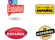 Perito em software Habla Español - & x22; O espanhol é Here& falado x22; Imagens de Stock