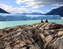 Perito Moreno Glacier, Argentina. Couple looking at Perito Moreno Glacier, Patagonia, Argentina stock photography