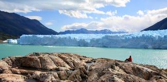 Perito Moreno Glacier, Argentina. A woman looking at Perito Moreno Glacier, Patagonia, Argentina Royalty Free Stock Photography
