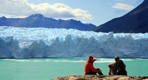 Perito Moreno Glacier, Argentina. Couple looking at Perito Moreno Glacier, Patagonia, Argentina Royalty Free Stock Images