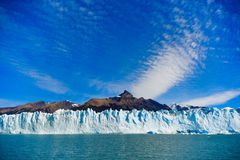 Perito Moreno glacier. Day view from the water at the Perito Moreno glacier in front of the mountain Cerro Moreno Royalty Free Stock Photography