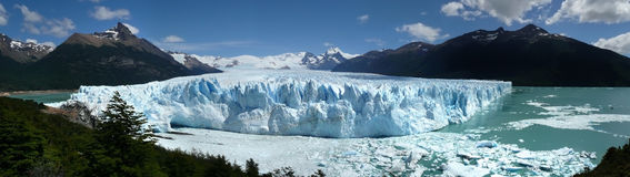Perito moreno glacier and icebergs in patagonia. Panoramic view from the glacier with blue sky Stock Photography