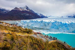 The Perito Moreno Glacier. Is a glacier located in the Los Glaciares National Park in Santa Cruz Province, Argentina. Its one of the most important tourist Stock Photography
